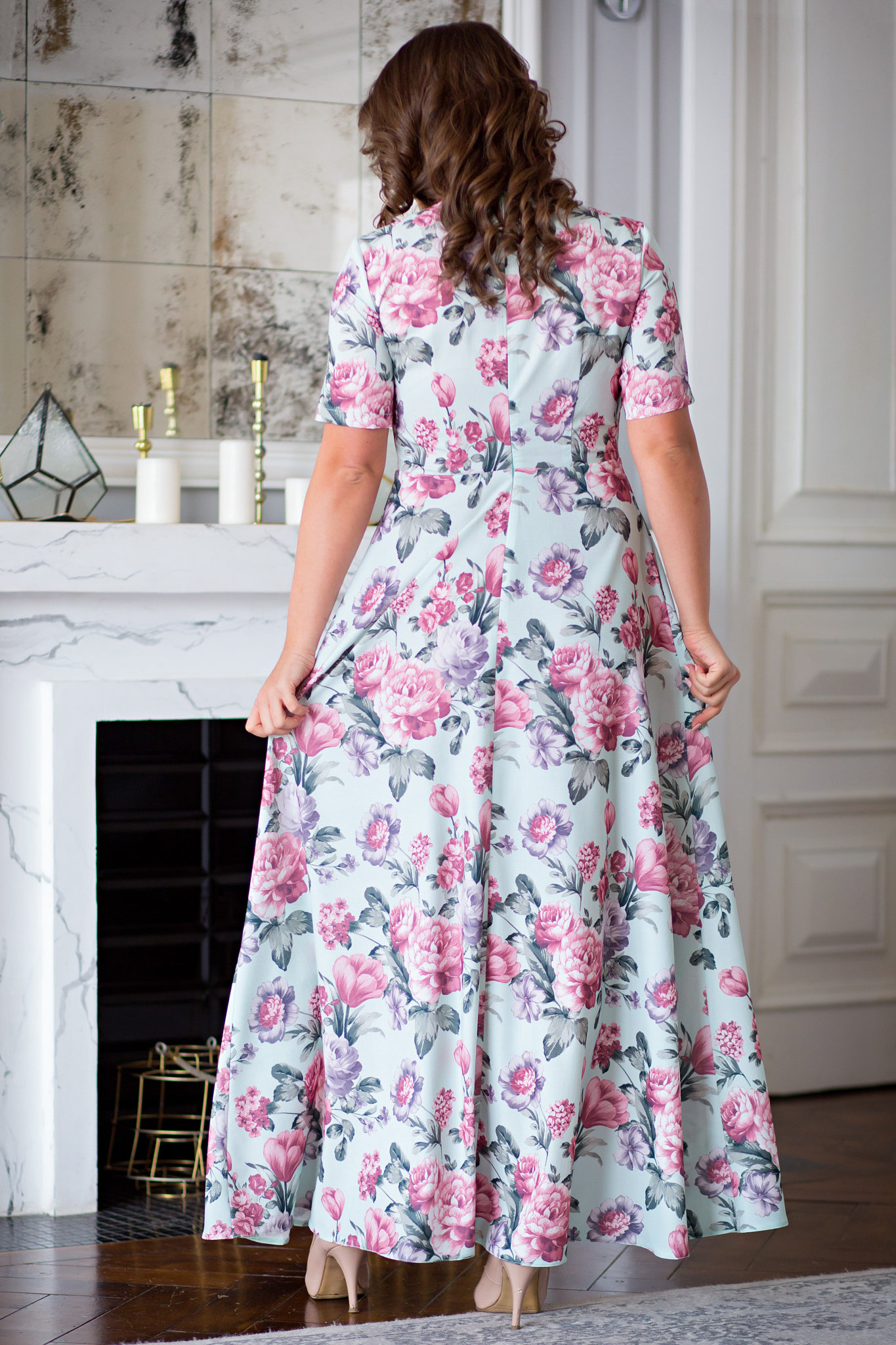 1d0dca2f2a6cb62 Платье Виктория цветы на зелёном/ ፨ официальный сайт Svetozara® ๛