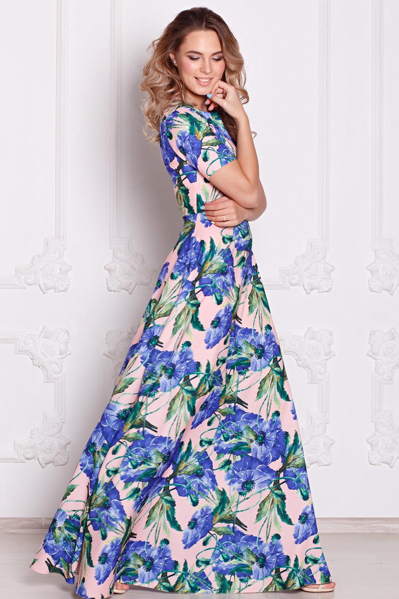 1d56e34d6eb3435 Платье Виктория цветы на розовом ፨ официальный сайт Svetozara® ๛