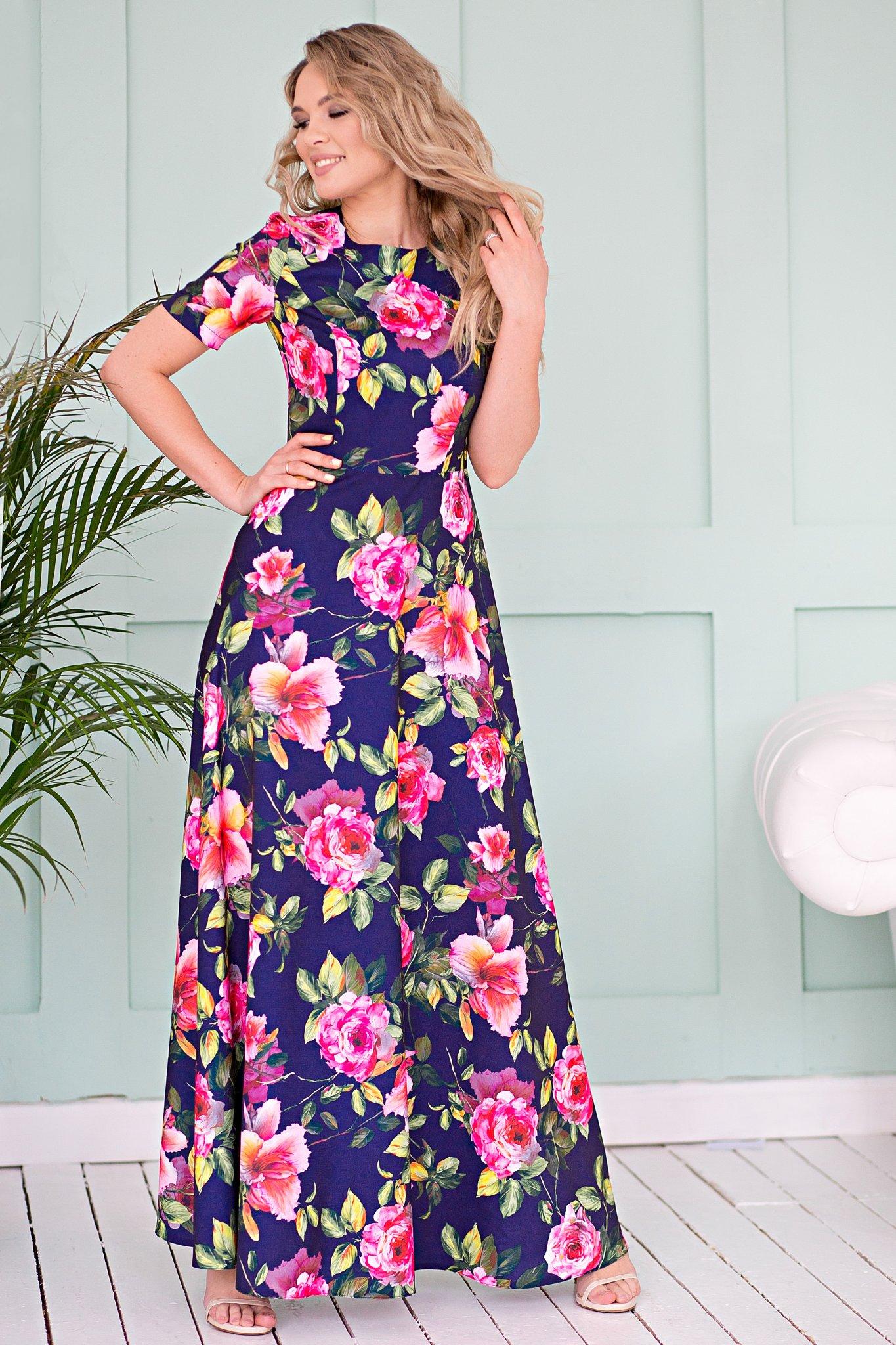 7ceabb0df4559bb Платье Виктория цветы на темном ፨ официальный сайт Svetozara® ๛