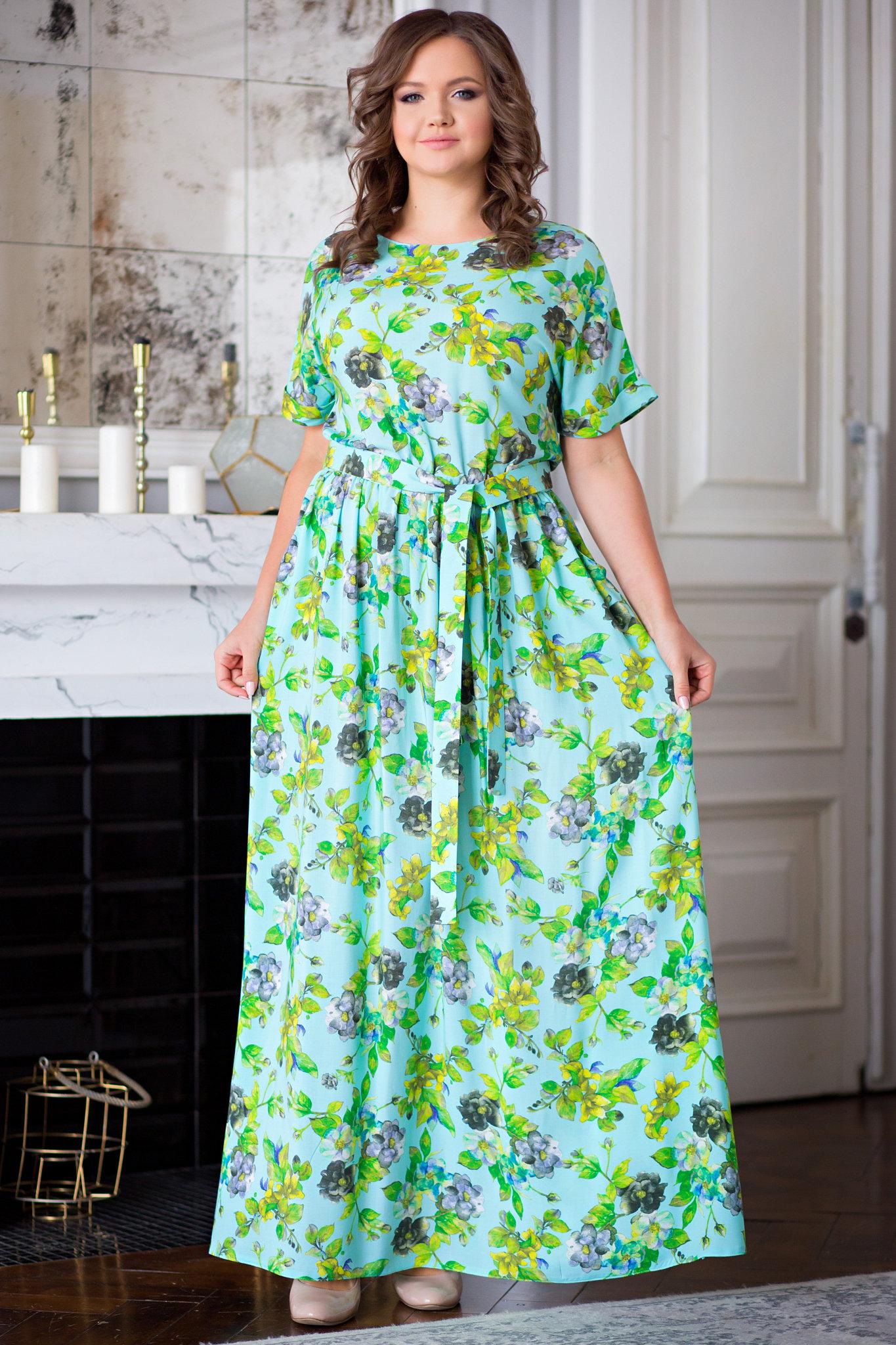dc3ce550f7d684d Платье Камилла в пол цветы на зелёном/ ፨ официальный сайт Svetozara® ๛