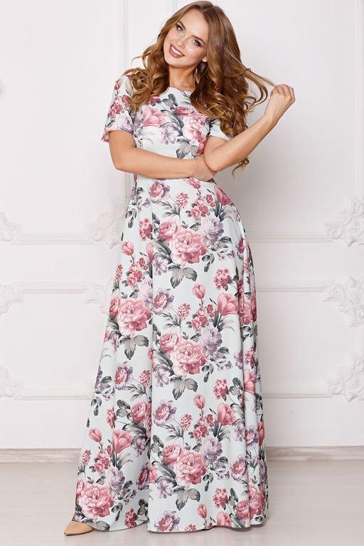 3684959b352d688 Платье Виктория цветы на зеленом ፨ официальный сайт Svetozara® ๛